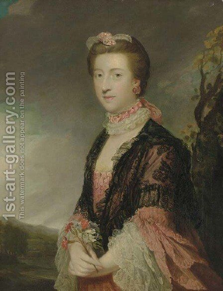 Portrait of Mary, Countess of Courtown, Lady of the Bedchamber to Queen Charlotte by Sir Joshua Reynolds - Reproduction Oil Painting