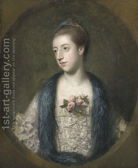 Portrait of Miss Mary Powis, afterwards Lady Stopford and Countess of Courtown by Sir Joshua Reynolds - Reproduction Oil Painting