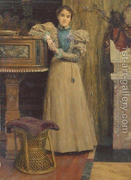 Portrait of Clothilde Enid, daughter of Edward Onslow Ford by Sir Lawrence Alma-Tadema - Reproduction Oil Painting