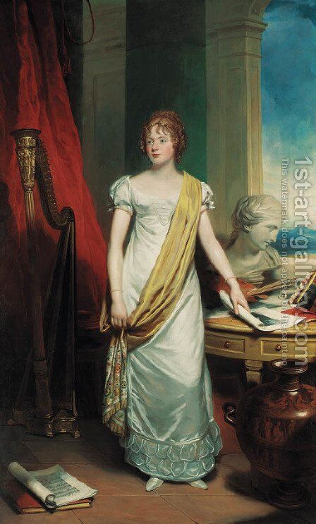 Portrait of a lady, full-length, in a white dress with a yellow silk sash by Sir Martin Archer Shee - Reproduction Oil Painting