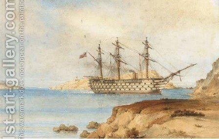 H.M.S. Royal Albert aground off the Aegean Island of Zea, 29th December, 1855 by Sir Oswald Walters Brierly - Reproduction Oil Painting