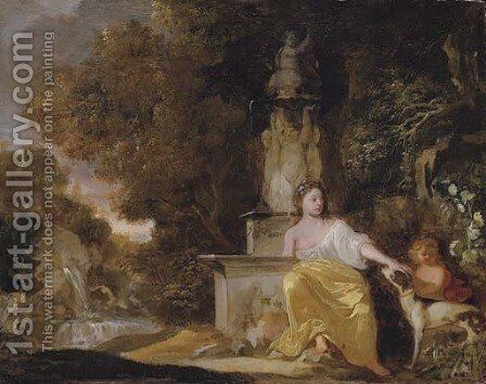 A lady, seated by a fountain, with a dog and a child, in a landscape by Sir Peter Lely - Reproduction Oil Painting
