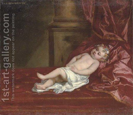 Portrait of a child, identified as Lord Kensington by Sir Peter Lely - Reproduction Oil Painting