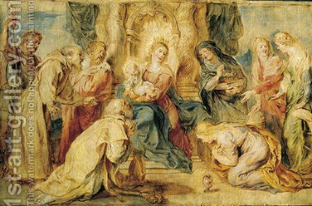 The Virgin and Child enthroned adored by eight Saints by Rubens - Reproduction Oil Painting