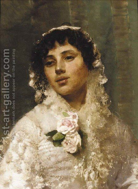 A Spanish beauty by Sir Samuel Luke Fildes - Reproduction Oil Painting