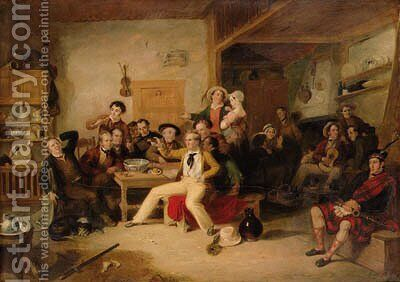 The Celebration of the Birthday of James Hogg, or The Ettrick Shepherd's House-heating by Sir William Allan - Reproduction Oil Painting