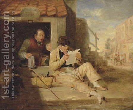 The cobblers Portrait of a man, small full-length, reclining reading a newspaper by a cobblers by Sir William Allan - Reproduction Oil Painting