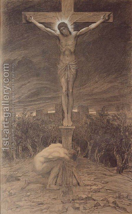 Barabbas at the Cross by Sir William Blake Richmond - Reproduction Oil Painting