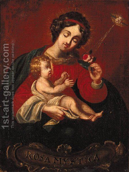 Madonna and Child by Spanish Colonial School - Reproduction Oil Painting