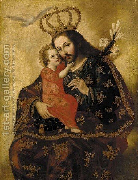 Saint Joseph and the Christ Child by Spanish Colonial School - Reproduction Oil Painting