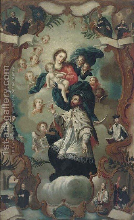 The Virgin and Child enthroned surrounded by saints by Spanish Colonial School - Reproduction Oil Painting
