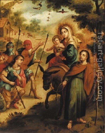 The Flight into Egypt with Roman legionnaires adoring the Christ Child by Spanish Colonial School - Reproduction Oil Painting