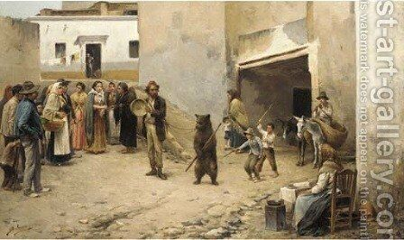 The pedlar and the bear by Spanish School - Reproduction Oil Painting