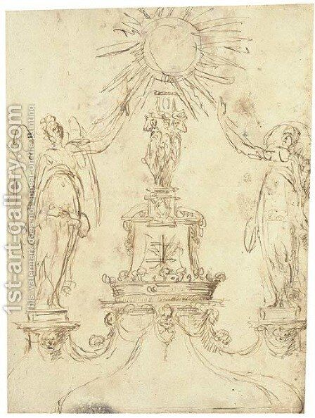 Design for a monstrance with two angels flanking a central column bearing a coronet and a Cross of Lorraine by Spanish School - Reproduction Oil Painting