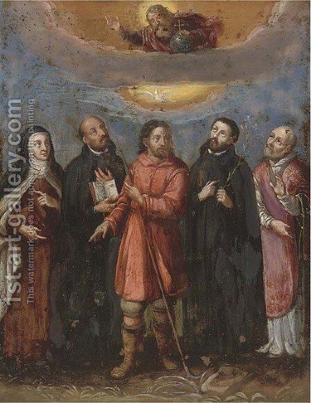 God in Glory with five Saints by Spanish School - Reproduction Oil Painting
