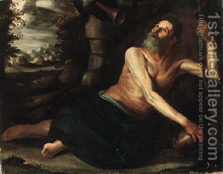 Saint Jerome in the Wilderness by Spanish School - Reproduction Oil Painting