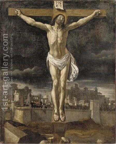 The Crucifixion, with Jerusalem beyond by Spanish School - Reproduction Oil Painting