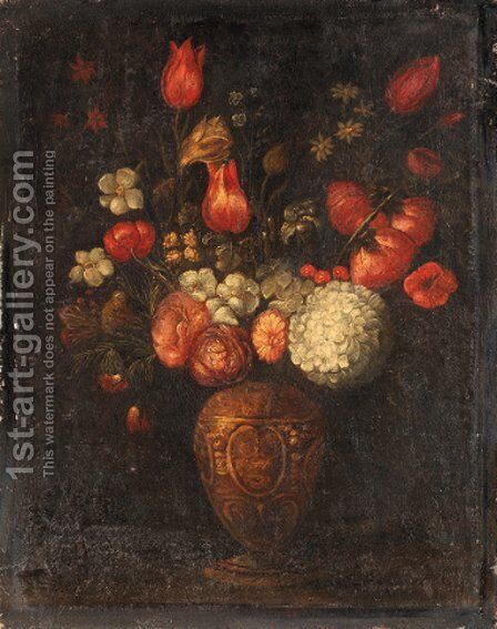 Tulips, roses and other flowers in an ornamental vase by Spanish School - Reproduction Oil Painting