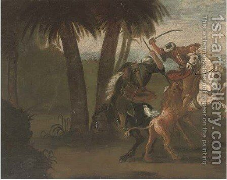 Ottomans on horseback hunting a lion by Spanish School - Reproduction Oil Painting