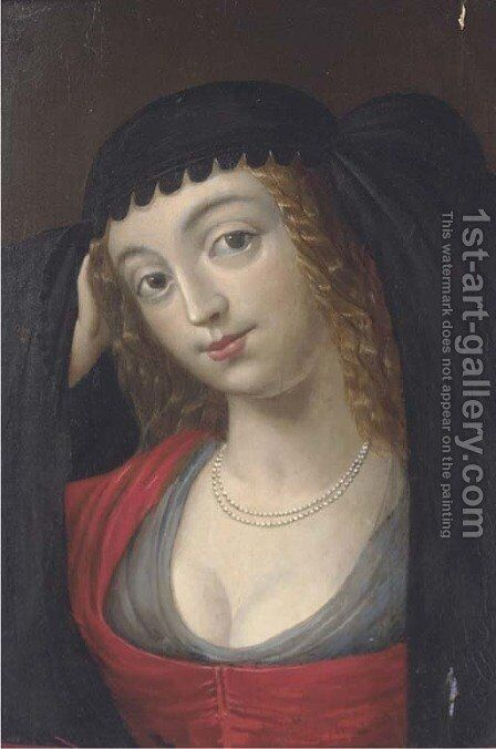 Portrait of a maiden by Spanish School - Reproduction Oil Painting