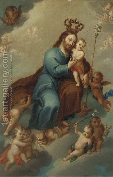 Saint Joseph and The Christ Child in Glory by Spanish School - Reproduction Oil Painting