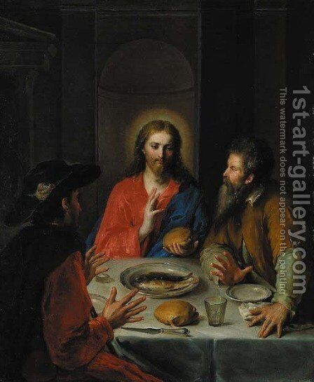 The Supper at Emmaus by Spanish School - Reproduction Oil Painting