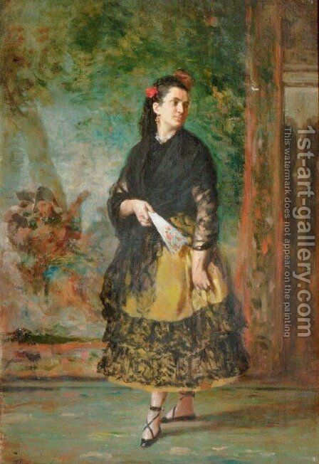 A Spanish beauty by Spanish School - Reproduction Oil Painting