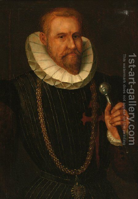 Portrait of a gentleman, half-length, in a black doublet and a ruff collar by Spanish School - Reproduction Oil Painting