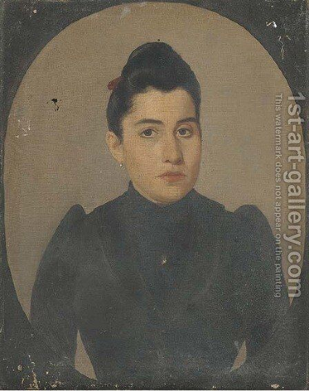 Portrait of a lady, half-length, in black, in a feigned oval by Spanish School - Reproduction Oil Painting