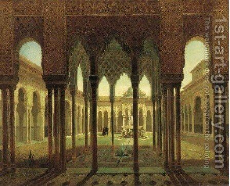 The Alhambra Palace, Grenada by Spanish School - Reproduction Oil Painting
