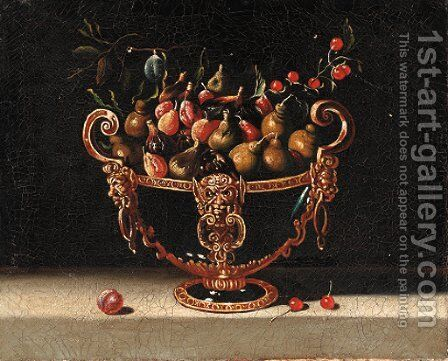 Figs, cherries and pears in an ornamental bowl by Spanish School - Reproduction Oil Painting