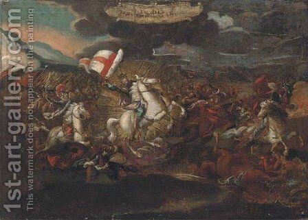 St. James on horseback, leading the Spanish to victory against the Saracens by Spanish School - Reproduction Oil Painting