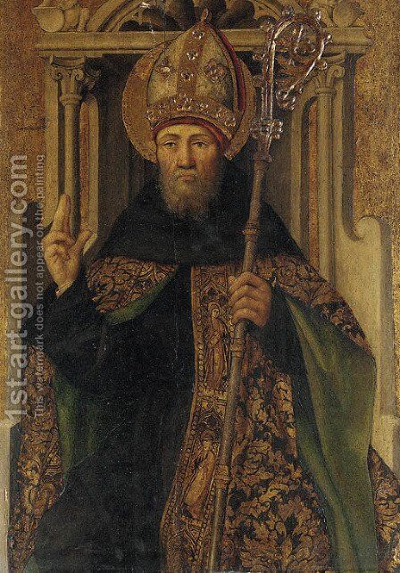 A bishop saint, half-length by Spanish School - Reproduction Oil Painting
