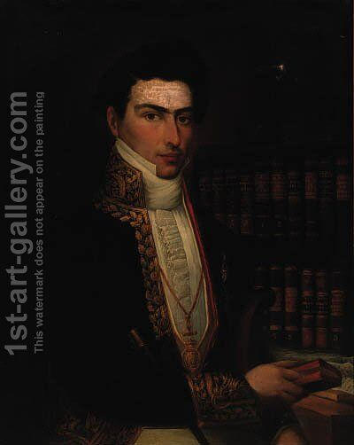 Portrait of a gentleman, seated half-length, in a tunic, holding a book in his left hand, a bookcase beyond by Spanish School - Reproduction Oil Painting