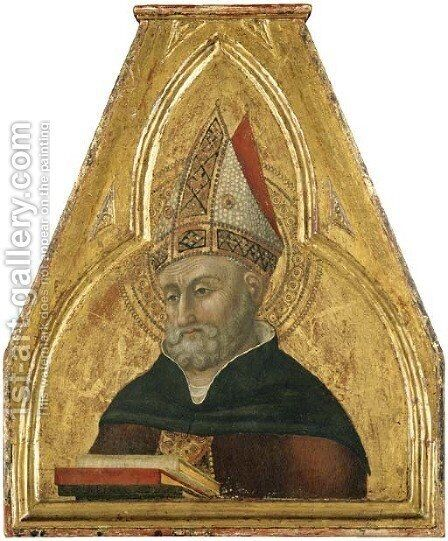 Saint Augustine, a pinnacle of the Borgo Sansepolcro Altarpiece by Stefano Di Giovanni Sassetta - Reproduction Oil Painting