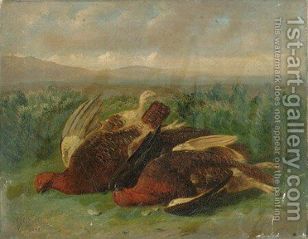 A Brace of Grouse on a Moor by Stephen E. Hogley - Reproduction Oil Painting