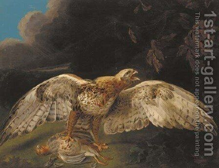 A hawk guarding his prey by Stephen Elmer - Reproduction Oil Painting
