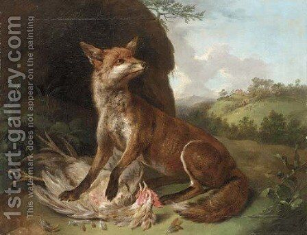 A fox with a dead cockerel in a landscape by Camille Pissarro - Reproduction Oil Painting