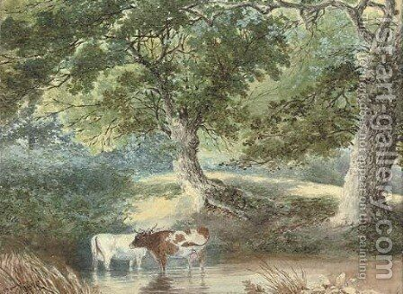 Cattle watering by Stephen J. Bowers - Reproduction Oil Painting