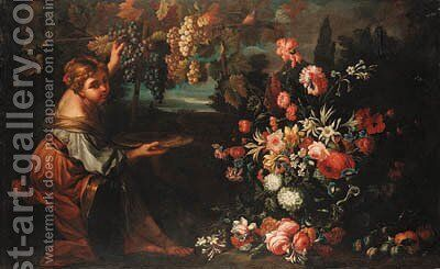 A girl picking grapes by (after) Abraham Brueghel - Reproduction Oil Painting
