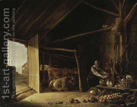 A barn interior with cattle and a maid fetching vegetables by (after) Aelbert Cuyp - Reproduction Oil Painting