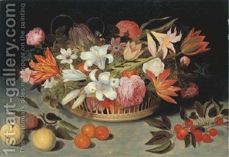 Flowers 2 by (after) Ambrosius The Elder Bosschaert - Reproduction Oil Painting