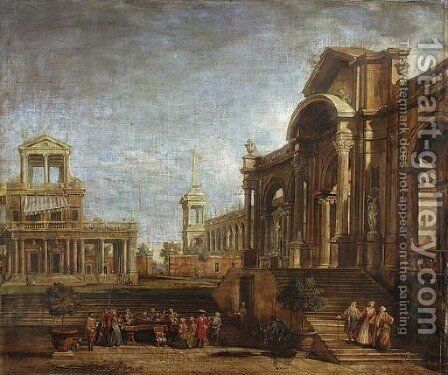 An architectural capriccio with elegant figures promenading and playing music by (after) Antonio Visentini - Reproduction Oil Painting