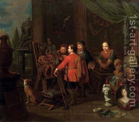 An artist's studio with an elegant man inspecting a painting by (after) Balthasar Van Den Bossche - Reproduction Oil Painting