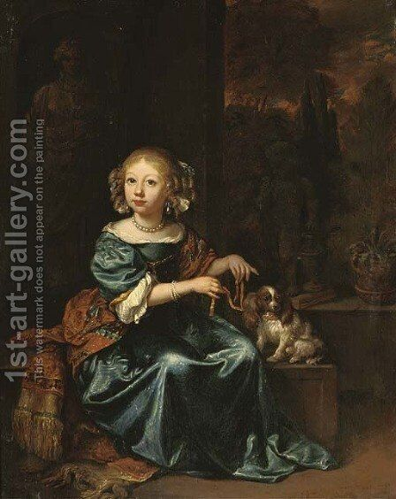 Portrait of a girl in a blue dress and red shawl by (after) Caspar Netscher - Reproduction Oil Painting