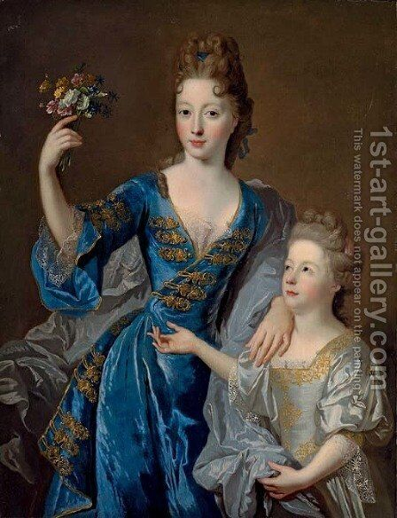 Portrait of a lady, her daughter at her side by (after)  Jean Francois De Troy - Reproduction Oil Painting