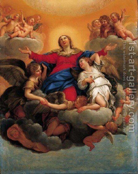 The Assumption of the Virgin 2 by (after) Francesco Albani - Reproduction Oil Painting