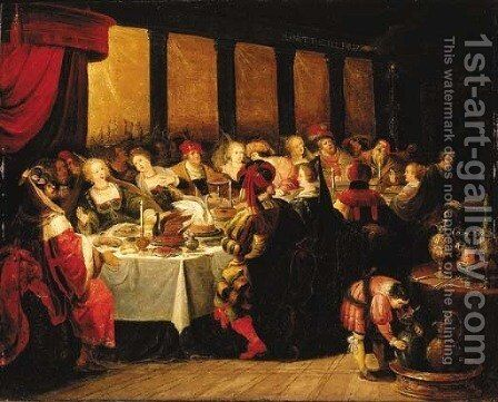 Belshazzar's Feast 7 by (after) Frans II Francken - Reproduction Oil Painting