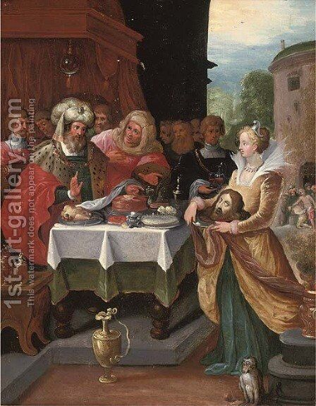 Salome presenting the Head of Saint John the Baptist to Herod by (after) Frans II Francken - Reproduction Oil Painting