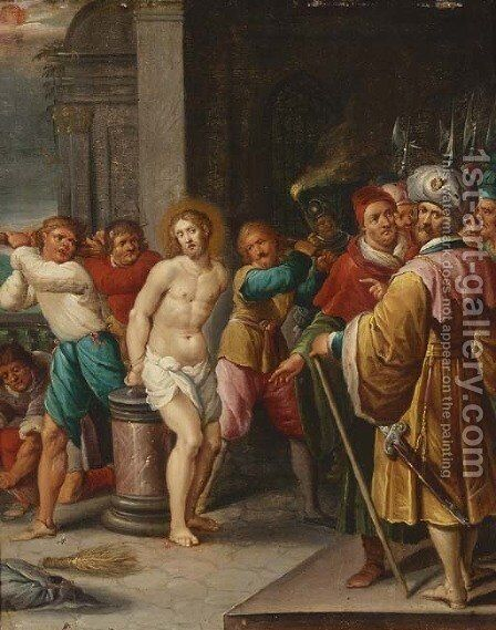 The Flagellation of Christ by (after) Frans II Francken - Reproduction Oil Painting